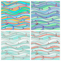 Four background the marine settings abstract sea seamless texture of different colors Royalty Free Stock Image