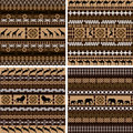 Four backgrounds with African motifs and animals Stock Images