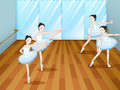 Four ballet dancers rehearsing illustration of the Royalty Free Stock Photos