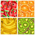 Four banners with fruits orange banana kiwi and watermelon vector illustration Stock Images