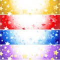 Four  banners with sparkling stars Stock Images