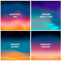 Four beautiful backgrounds. Blurred abstract backdrops like sunrise, sunset or amazing sky