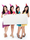 Four beautiful girl holding blank board Royalty Free Stock Photo