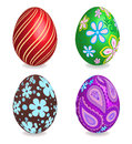 Four beautiful painted easter eggs. Royalty Free Stock Photos