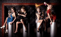 Four beauty girls have a good time at the club collage Stock Photo