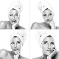 Four beauty portraits of a gorgeous woman with towel in head haircare treatment and concept toned monochrome naked young Royalty Free Stock Images