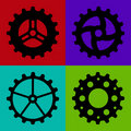 Four Black Gearwheels Stock Photography