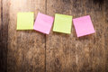 Four blank colorful sticky notes Royalty Free Stock Photo