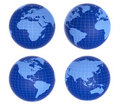 Four blue globes showing different