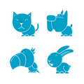 Four blue pets cat dog parrot rabbit Stock Image