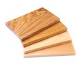 Four boards acacia oak elm lime fan Stock Photos
