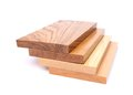 Four boards acacia oak elm lime a white background Royalty Free Stock Image