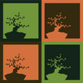 Four bonsai background - vector Stock Photo