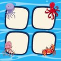 Four border templates with sea animals in ocean