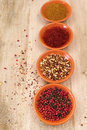 Four bowls with saffron, pepper, ras en  hanout, chili with gar Royalty Free Stock Photo