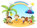 Four boys having an outing at the beach illustration of on a white background Royalty Free Stock Images