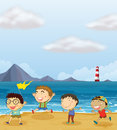 Four boys playing at the beach illustration of Royalty Free Stock Photos