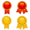 Four bright rosettes set of isolated with ribbons Royalty Free Stock Photography