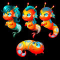 Four bright sea creatures male and female Royalty Free Stock Photo