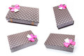 Four brown box with gifts and pink bow Royalty Free Stock Photo