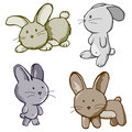 Four Bunny cartoons Stock Images