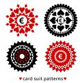 Four card suit round patterns gambling made from suits nice elements of diamond spade heart and club for gambling design Royalty Free Stock Photo