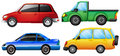 Four cars with different colors illustration of on a white background Stock Photo