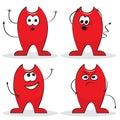 Four cartoon devils Stock Photos