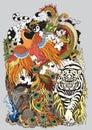 Four celestial animals illustration Royalty Free Stock Photo