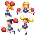 Four cheerdancers with their pompoms illustration of the on a white background Royalty Free Stock Photo