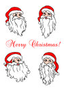 Four cheerful santa clouses for christmas holiday design Royalty Free Stock Photos