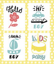 Four children s logo with handwriting. Hello little boy Kids party .