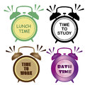 Four clocks with different colors indicating the time to eat study work and take a bath Stock Photography