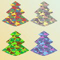 Four color ornate x mas tree set of different coloring christmas trees with geometric Stock Photos