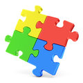 Four color puzzle pieces Royalty Free Stock Photo
