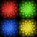 Four Color Repeating Explosions Pattern Royalty Free Stock Image