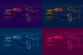 Four colored abstract cars Royalty Free Stock Photo