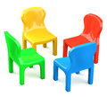 Four colored cartoon styled chairs isolated on white background Stock Photo