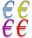 Four colored Euro symbols  Royalty Free Stock Image