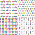 Four colorful backgrounds collection pink blue purple green yellow and white trucks polka dot flowers and bees pattern set Stock Images