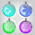 Four colorful ball decoration set with snow motive Stock Photography
