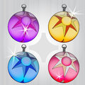 Four colorful ball pack with star motive Royalty Free Stock Photos