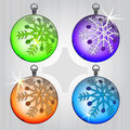 Four colorful ball series with snow motive Stock Photos