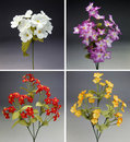 Four colorful bouquet of fabric flowers Royalty Free Stock Images