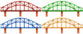 Four colorful bridges illustration of the on a white background Stock Photo