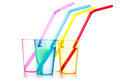 Four colorful drinks with straws Royalty Free Stock Photo