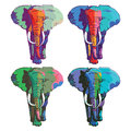 Four colorful elephants