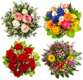 Four colorful flowers bouquet for seasons winter spring summer and autumn Royalty Free Stock Photos