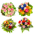 Four colorful flowers bouquet on white for birthday wedding mothers day easter Stock Photography