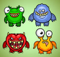 Four colorful funny monsters different emotions Stock Photo